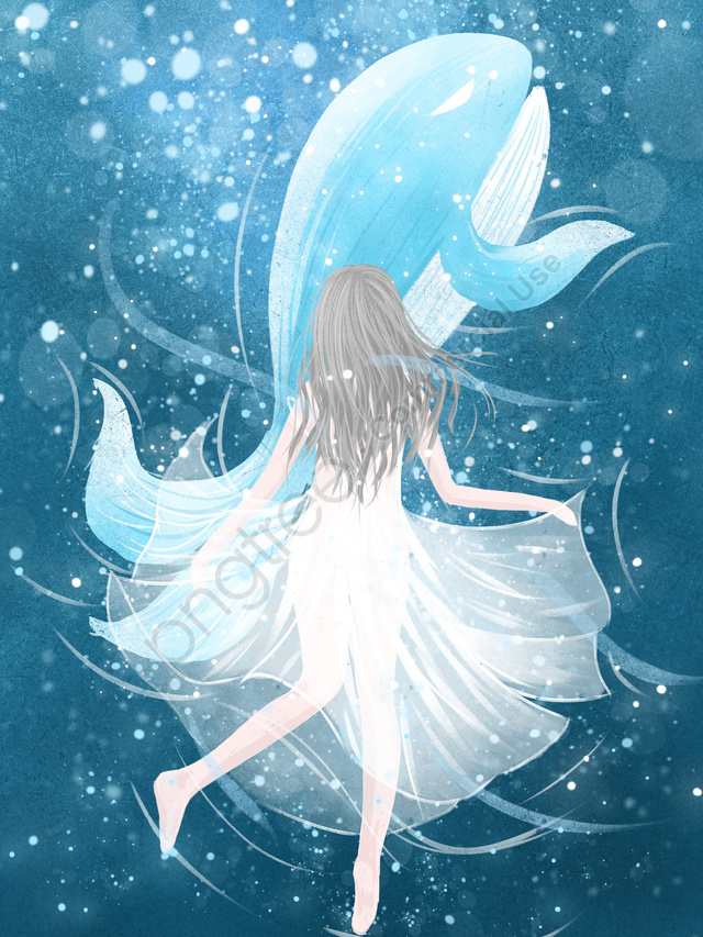 イラストレーターを癒すときに女の子とクジラのクジラの深海を見て, 治療法, 海, クジラ llustration image
