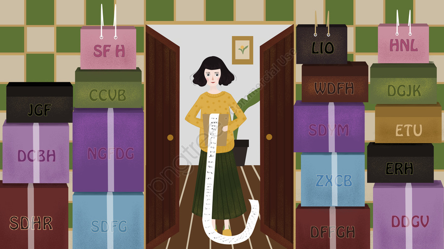 Double eleven shopping girls received a lot of express, Double Eleven, Shopping, Girl llustration image