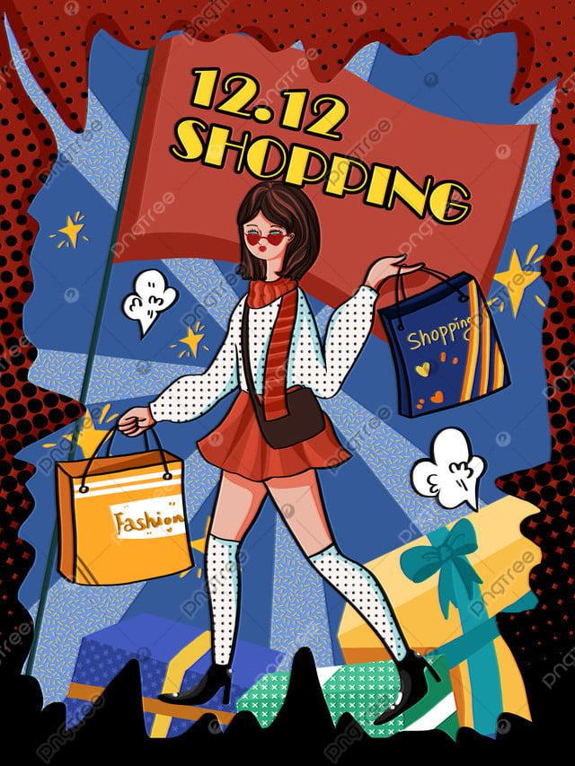 Double twelve year old big retro girl shopping pop style illustration, Double Twelve, Shopping, Girl llustration image
