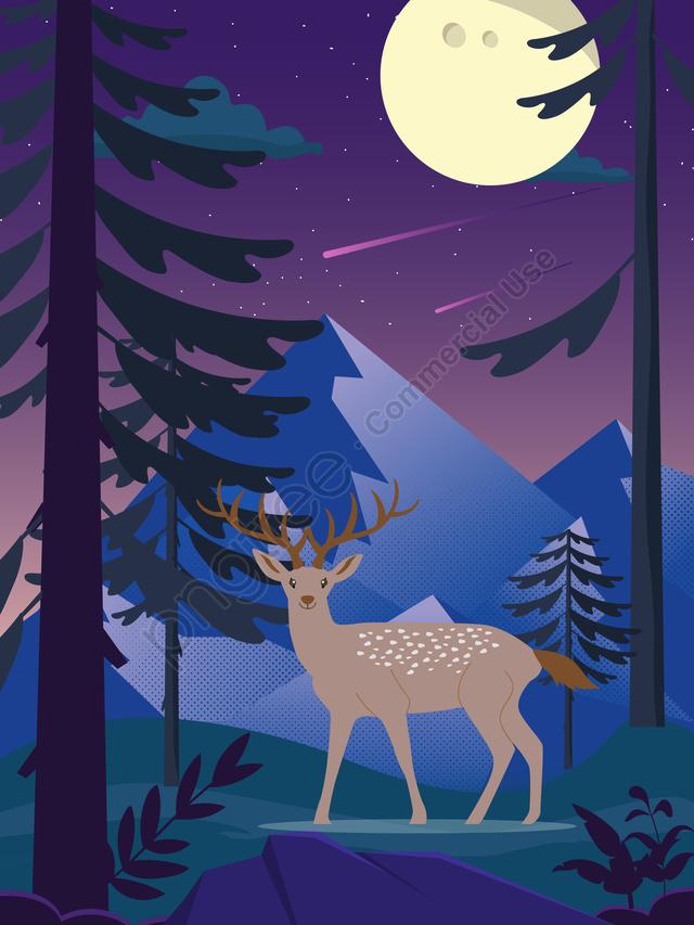 Deer Illustration In Purple Forest Moonlight, Elk, Forest, Jungle llustration image