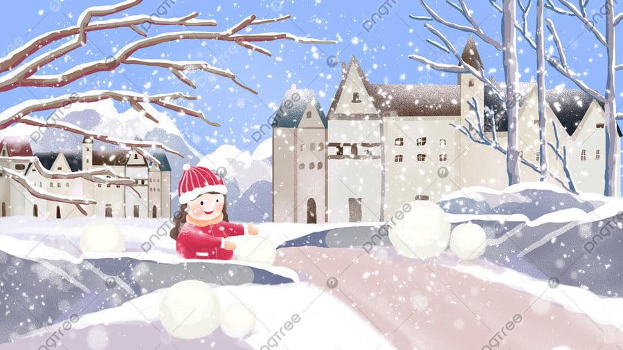 첫 번째 눈 겨울 아름 다운 풍경 큰 빛 축제 그림, 첫 눈, 겨울, 아름다운 llustration image