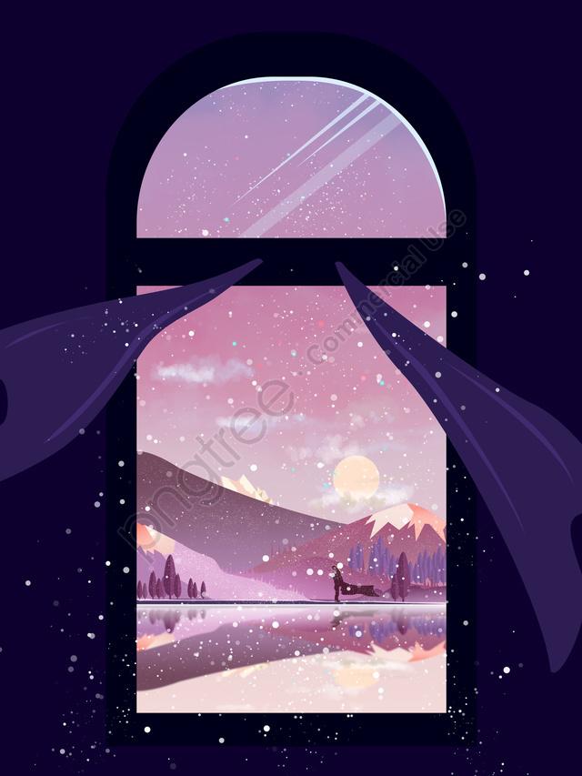 초기 눈 겨울 풍경 창밖 아래 아름다운 색상, 첫 눈, 겨울 풍경, 창 밖 풍경 llustration image