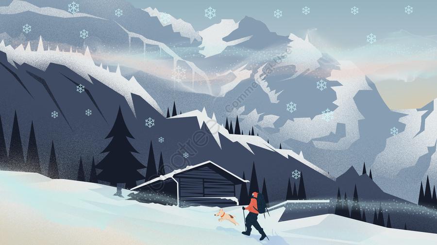 첫 눈 겨울 등산 그림, 첫 눈, 겨울, 겨울 풍경 llustration image