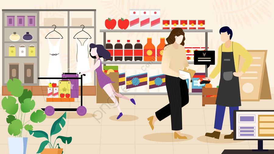 플랫 쇼핑 장면 대면 지불, 평평한, 지불, 쇼핑 llustration image