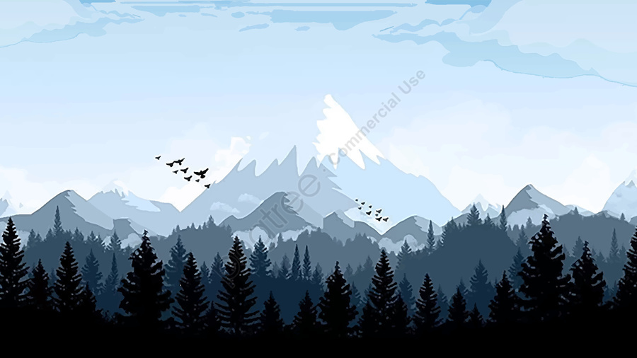 Snowy Mountain In The Forest Of Good Morning Forest Good Morning Snow Mountain Illustration Image On Pngtree Free Download On Pngtree