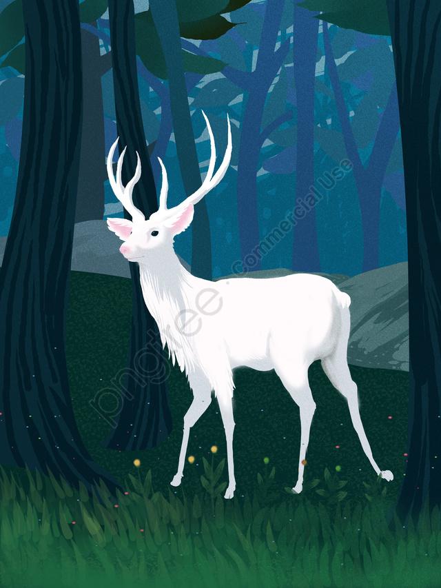 林シェンは鹿の癒しシステムの図を見ている, 森, 癒し系, 林シェンときに鹿を参照してください llustration image