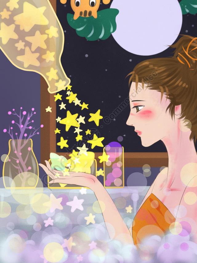 おはようございます、良い気分、星の中でお風呂を持つ少女, こんにちは。, 夜, 月 llustration image