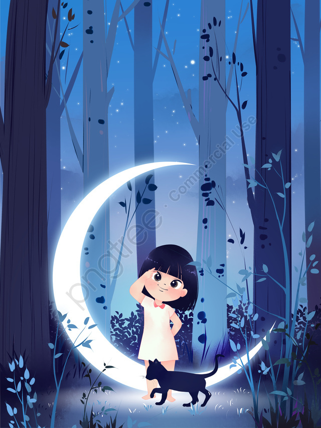ليلة سعيدة مرحبا وودز فتاة القمر والقط نظام التوضيح التوضيح, ليلة سعيدة ، مرحبًا بكم ، الغابة ، الليل ، السماء المرصعة بالنجوم ، القمر ، الفتاة ، القط ، ورق الحائط ، الرسم التوضيحي ، الخلفية ، المطابقة ، العلاج ، صغير ، ملصق llustration image