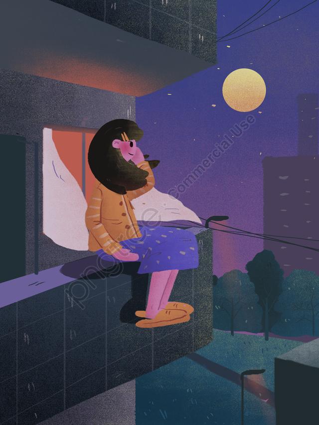 Good Night Hello Balcony Moonlight Illustration, Good Night, Night, Balcony llustration image