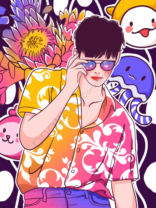 Graffiti colorful glasses playing cool fashion boy illustration, Graffiti Wind, Colorful, Wear Glasses llustration image