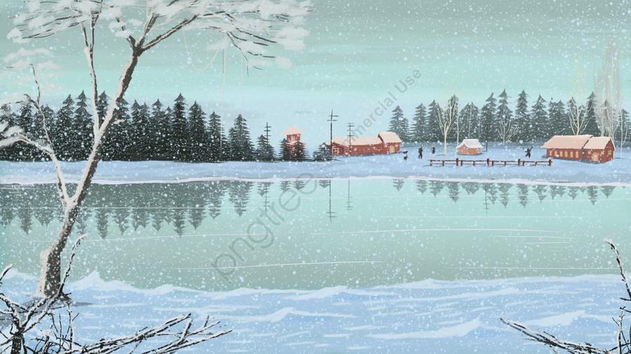 현실적인 아름다운 첫 번째 눈 겨울 풍경, 손으로 그린, 섬세하고 현실적인, 눈이 가볍다. llustration image
