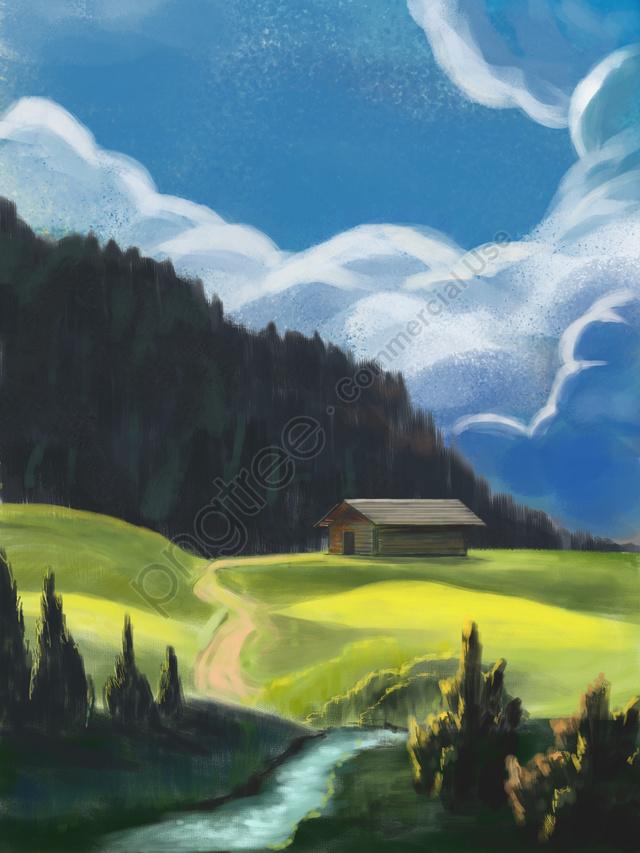 晴れた日の風景手描きの山の森, 手描きのリアリズム, 自然の風景, 晴れ llustration image