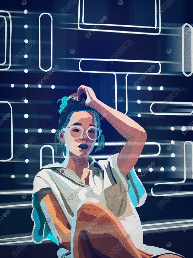 Good Mood Night Neon Beautiful Fashion Posing, Heart Language, Heart Mood, Neon llustration image