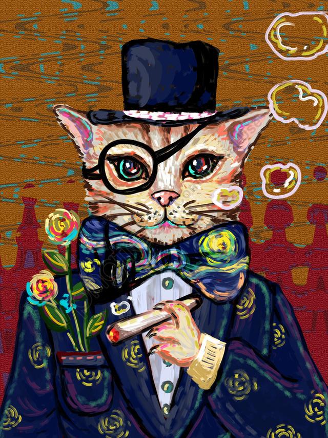 Oil记印象油絵喫煙レトロ猫スモークサークル紳士スーツ, 印象, 模造油絵, たばこ llustration image