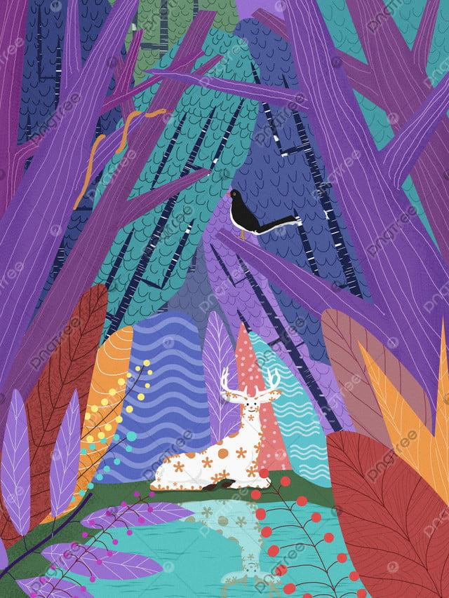 Lin shen sees the deer healing system original illustration, Lin Shen, See Deer, Forest llustration image