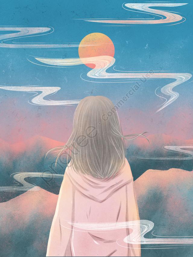 空テクスチャイラスト夕日を見て空を見渡す少女, 空を見て, 空, 少女 llustration image