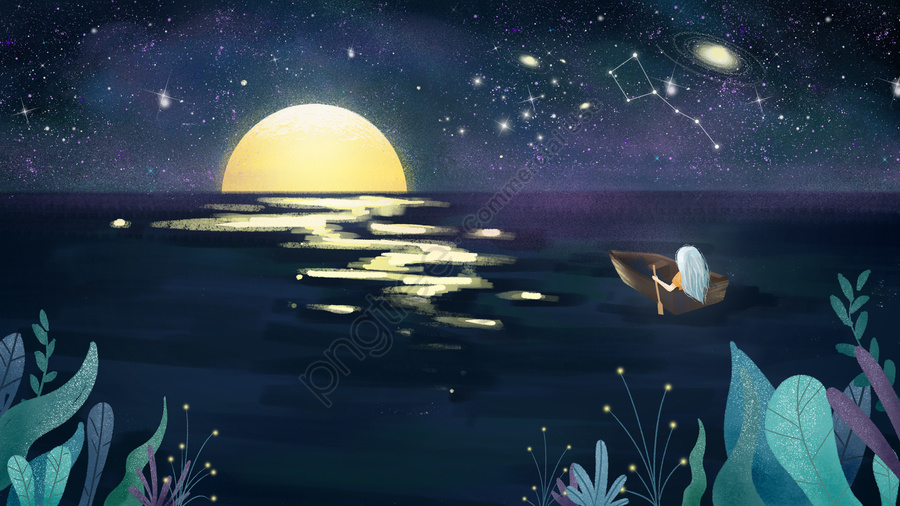 Moon Little Girl Looking Out Starry Sky Texture Illustration