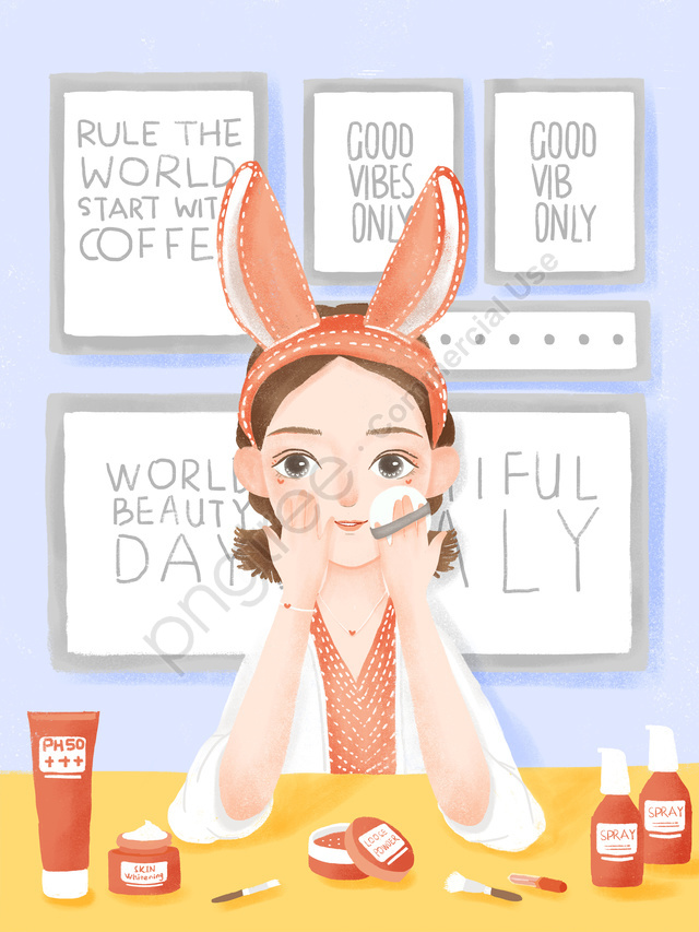 Cute Girl Indoor Makeup Beauty Skincare Psd Make Up Cosmetic Skin Care Products Illustration Image On Pngtree Free Download On Pngtree