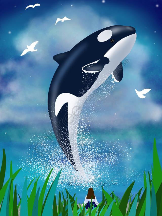 海の青を見るクジラ手描きイラスト, 海が青くなったらクジラに会いましょう, クジラ, 少女 llustration image