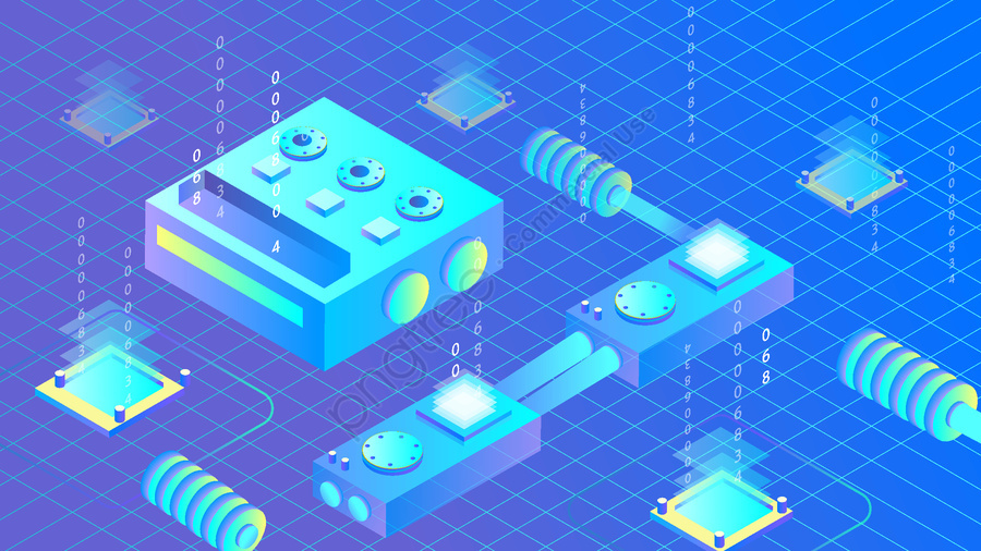 Виртуальный искусственный интеллект 2 5d Blue Tone, оригинал, Бизнес иллюстрация, Обои постер llustration image
