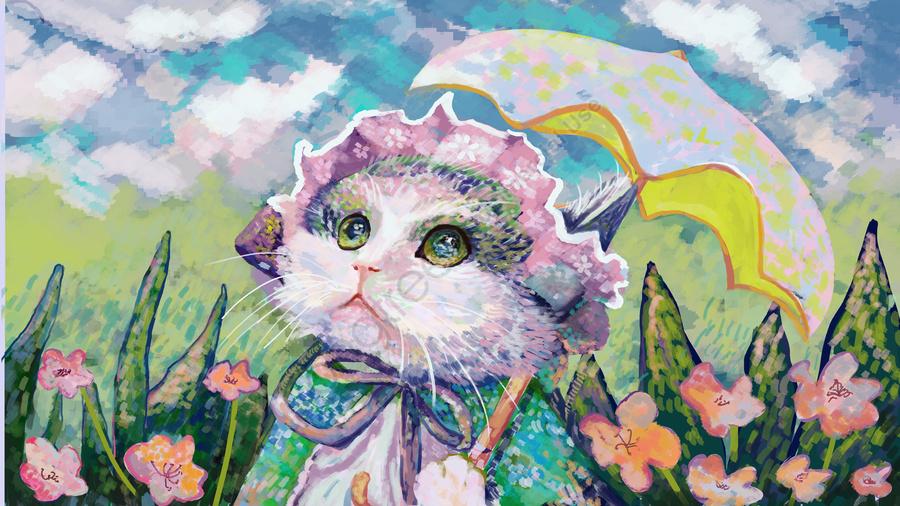 Oil记印象油絵美しい小さな新鮮な猫イラスト, 油絵, ねこ, 小さい新鮮な llustration image