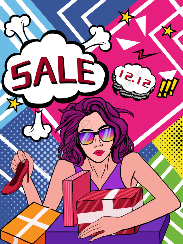 Pop style double twelve carnival shopping illustration, Pop Style, Double Twelve Shopping, Shopping Spree llustration image