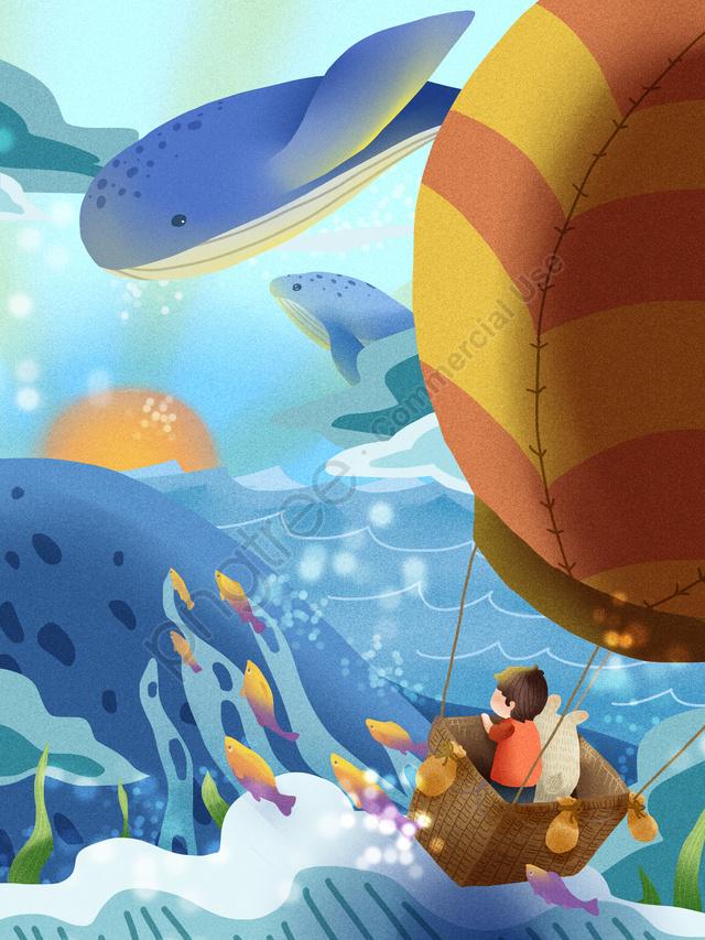 海がクジラの空に出会うと、熱気球の少年バニーがクジラに出会う, シーブルー, 会った, 空 llustration image