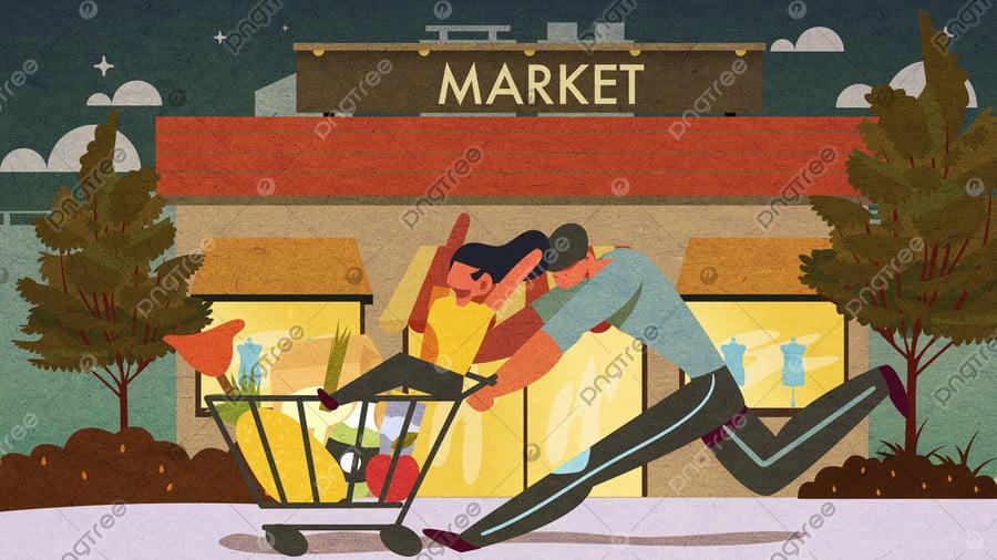 간단한 평면 바람 부모   자식 슈퍼마켓 쇼핑 일러스트 레이션, 장바구니, 아빠와 딸, 쇼핑 페스티벌 llustration image
