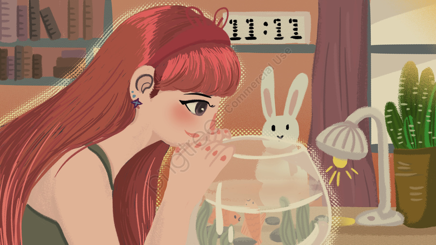 Flat daily life of single cartoon girl on singles day, Singles Day, Single, Lovely llustration image