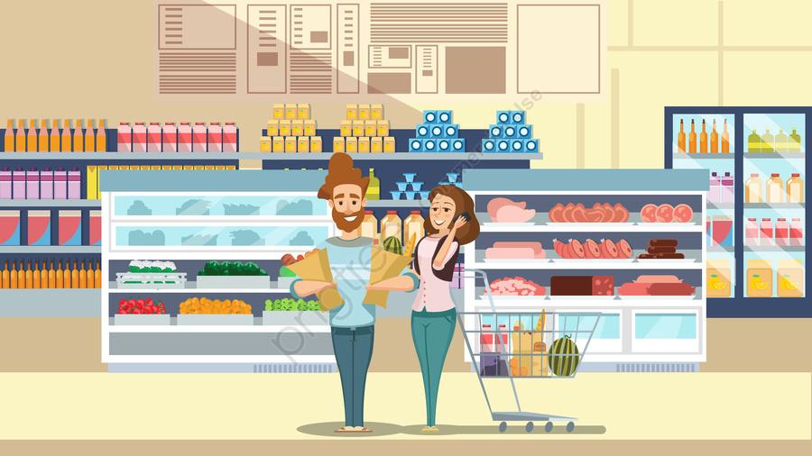 スーパーマーケットのカップルショッピングシーンフラット風イラスト, スーパーマーケット, 冷蔵戸棚, 野菜 llustration image