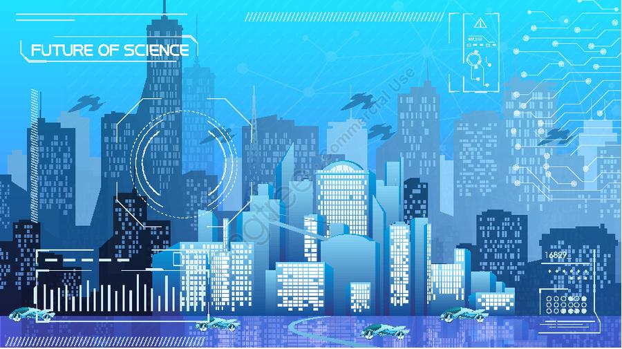 Technology future flat building city life illustration, Technology, Future, Flat llustration image