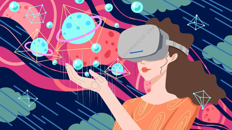 Ogy Masa Depan Vr Pengalaman Realitas Maya Gadis Alam Semesta, Teknologi,  Masa Depan, Realitas Maya Gambar Ilustrasi Unduh Gratis di Pngtree