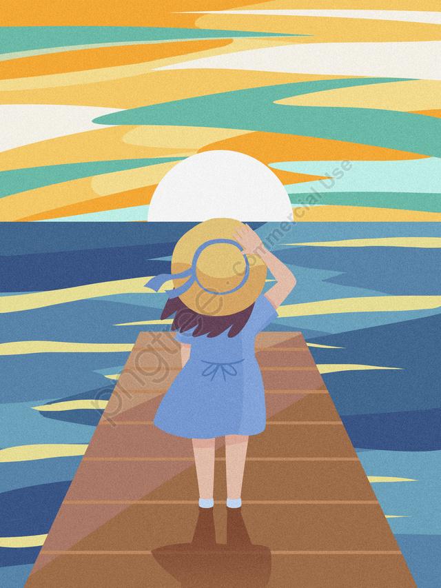 空を見て美しい夕日のテクスチャイラスト女の子, テクスチャの図, 空を見て, 治療法 llustration image