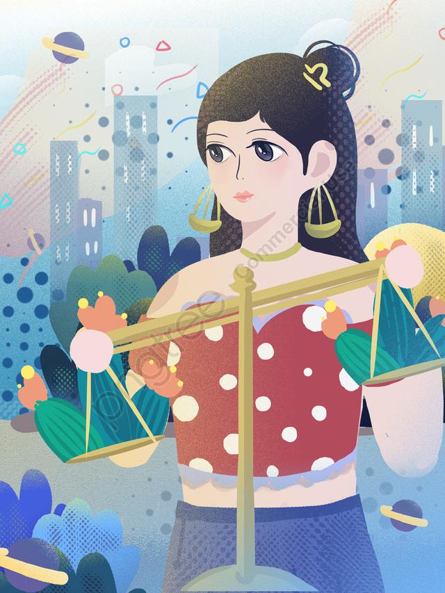 天秤座かわいい漫画の女の子都市ファンタジーの12星座, 12の星座, 天秤座, 可愛い llustration image