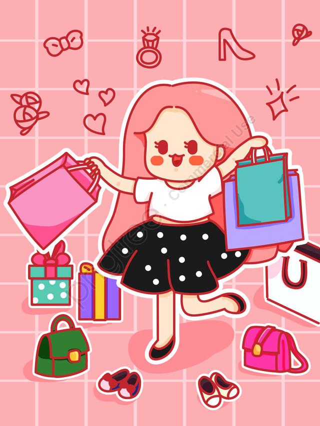 벡터 할인 쇼핑 소녀 그림, 벡터 일러스트 레이 션, 쇼핑, 쇼핑 장면 llustration image