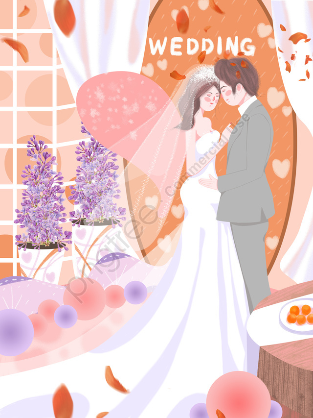 結婚式のシーンの美しい夢ロマンチックなオレンジ色の花束の花びらの新鮮なイラスト, 結婚式のシーン, 美しい夢, ロマンチックな llustration image
