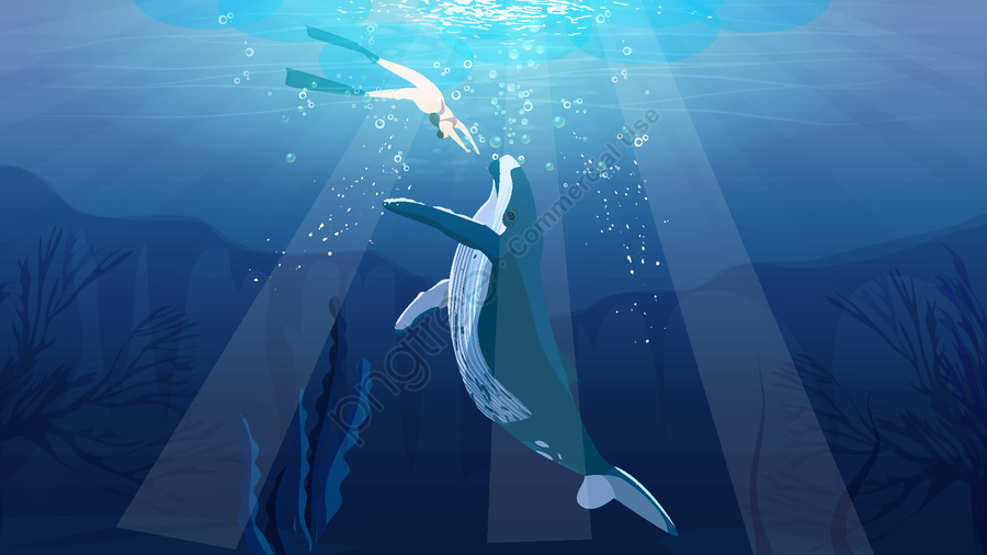 عندما يكون البحر أزرق اللون ، انظر الحوت يسبح في حلم العميق , الحوت, أعماق البحار, حلم llustration image