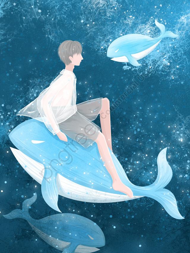 少年とクジラのイラストを癒すときにクジラの深海を見て, クジラ, 海, 少年 llustration image