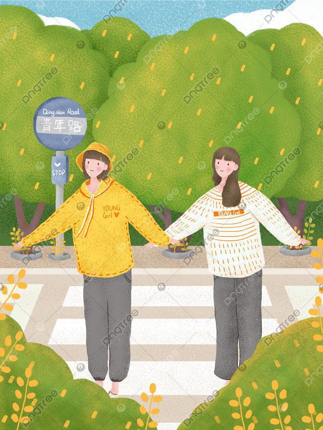 世界青年の日、若々しい活力、かわいい女性, 世界ユースデー, 道路標識, スウェットシャツ llustration image
