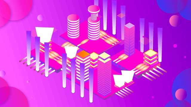 2.5d future artificial intelligence city vector illustration, 2.5d, 25d, Artificial Intelligence illustration image