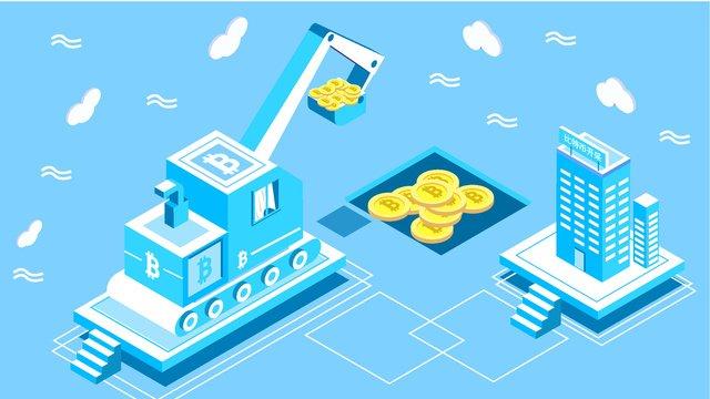 original 2 5d financial bitcoin technology blue style vector illustration llustration image illustration image