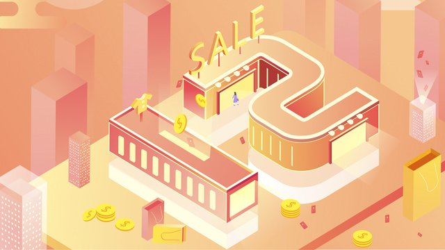 2.5d double 12 shopping carnival year-end promotion, 2.5d, City, Building illustration image