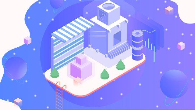 2 5d dream blue 미래 기술 라이프 삽화 소재 삽화 이미지