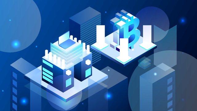 2 5d micro stereo technology blue finance bitcoin vector illustration llustration image illustration image