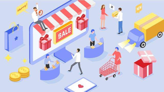 2 5d taobao tmall online shopping market express stereo illustration llustration image