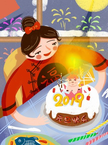 2019 new years day happy little girl fireworks retro texture illustration llustration image