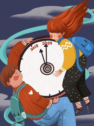 時計面白いイラストを保持している2019年カウントダウン少年少女 イラストレーション画像 イラスト画像