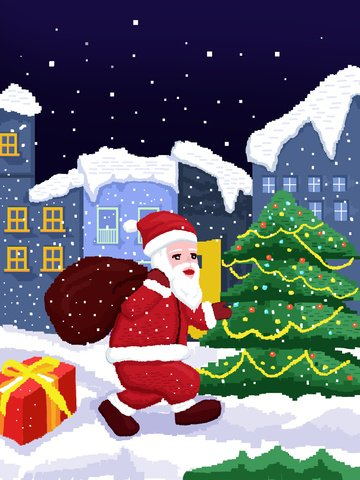 80 retro pixel christmas santa claus gift illustration الصور المدرجة