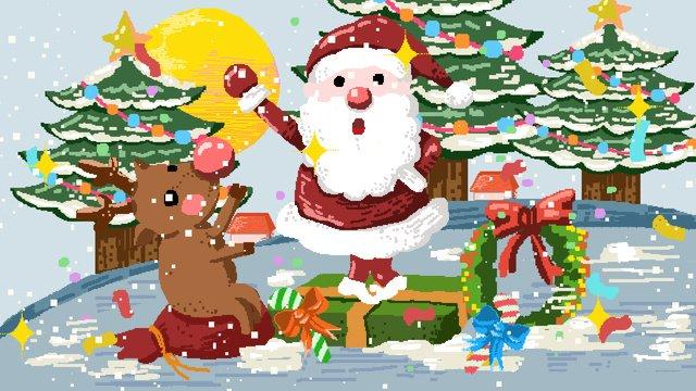 80 년대 복고풍 픽셀 크리스마스 노인과 엘크 삽화 소재