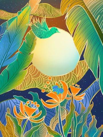 バナナの葉の花の輝きの図 イラスト素材